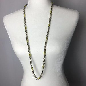 J. Crew Long Necklace Gold Tone Chain With Yellow